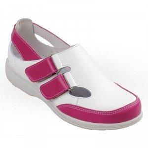Chaussure professionnelle travail blanche cuir ISO EN 20347 femme entretien auxiliaire vie menage aide domicile - BLANC/FRAMBOIS