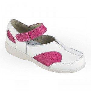 Chaussure professionnelle travail blanche cuir ISO EN 20347 femme - PROMO menage coiffeur creche entretien - BLANC/PRUNILLE