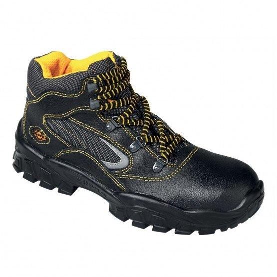NOIR - Chaussure haute de sécurité S3 professionnelle de travail noire en cuir ISO EN 20345 S3 homme entretien chantier menage a