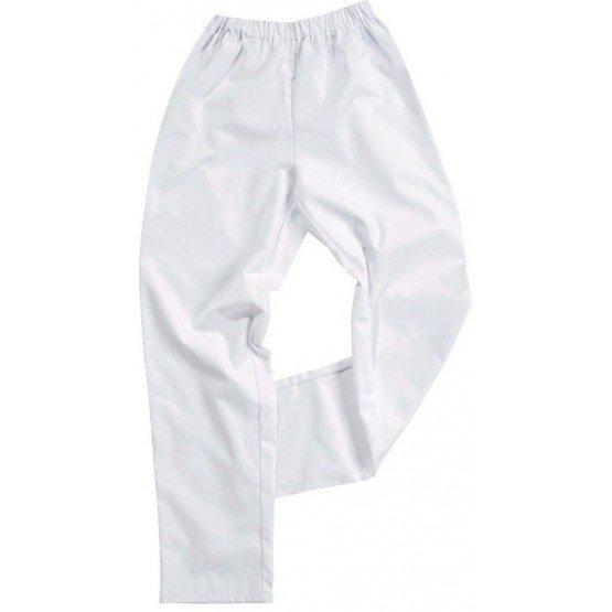 Pantalon elastique Polyester/Coton professionnel travail mixte infirmier serveur ecole bac pro - BLANC