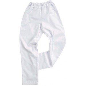 Pantalon elastique Coton professionnel travail 100% coton mixte serveur medical cuisine infirmier - BLANC