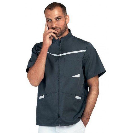 Tunique professionnelle travail blanche homme internat infirmier foyer medical - ARDOISE/BLANC