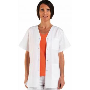 Tunique professionnelle travail blanche manches courtes 100% coton mixte - PROMO medical auxiliaire vie menage creche - BLANC