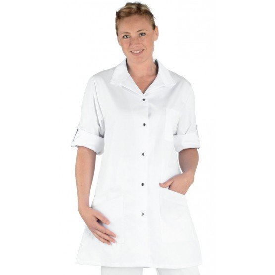 Blouse professionnelle travail blanche manches transformables femme - PROMO aide domicile medical auxiliaire vie infirmier - BLA