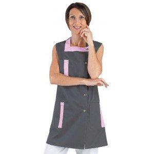 Blouse professionnelle travail sans manches femme - PROMO aide domicile entretien estheticienne internat - ARDOISE/ORCHIDEE