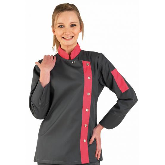 Veste cuisine professionnelle travail manches longues femme - PROMO restauration serveur restaurant cuisine - ARDOISE/FUCHSIA