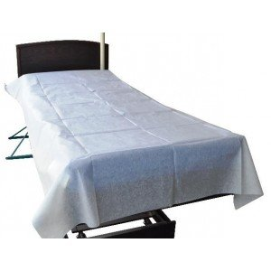 Drap plat usage court professionnel travail Polyester + Cellulose + liant medical hotel coiffeur ecole - BLANC