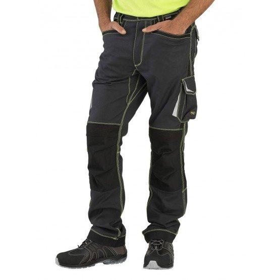 Pantalon travail professionnel homme transport artisan logistique chantier - GRIS/FLUO
