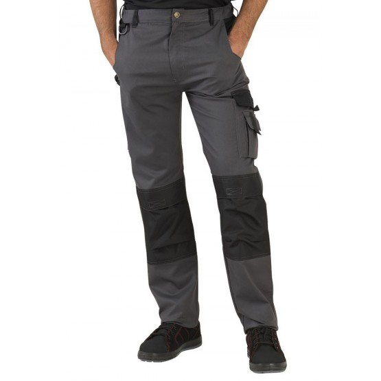 GRIS/NOIR - Pantalon de travail professionnelle homme logistique artisan transport chantier