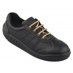 Tennis securite professionnelle travail noire cuir ISO EN 20345 S3 mixte chantier menage artisan entretien - NOIR