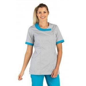 Tunique professionnelle travail blanche manches courtes femme infirmier aide domicile traiteur etudiant - PERLE/ATOLL