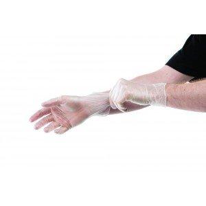 Gant jetable professionnel travail Vinyle poudre naturel medical aide domicile entretien internat - BLANC