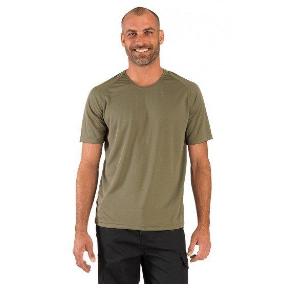 Tee-shirt professionnel travail manches courtes homme auxiliaire vie medical aide domicile infirmier - OLIVE