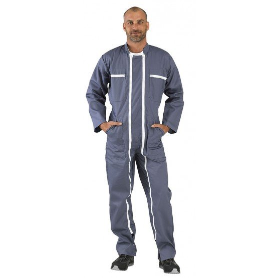Combinaison double fermeture professionnelle travail homme transport artisan logistique chantier - GRIS