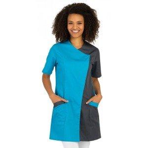 Blouse professionnelle travail manches courtes femme aide domicile infirmier auxiliaire vie medical - ATOLL/ARDOISE