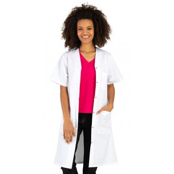 BLANC - Blouse professionnelle de travail blanche à manches courtes femme médical serveur foyer infirmier