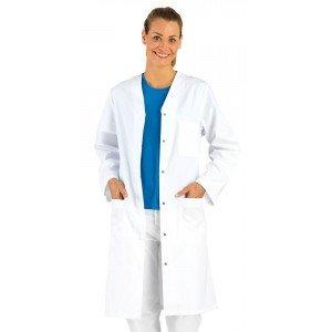 BLANC - Blouse professionnelle de travail blanche à manches longues femme restauration infirmier cuisine médical
