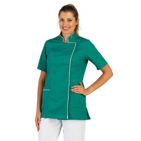 JADE/BLANC - Tunique professionnelle de travail blanche à manches courtes femme - PROMO auxiliaire de vie infirmier aide a domic