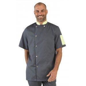 Veste cuisine manches courtes professionnelle travail manches courtes homme hotel patissier creche restaurant - ARDOISE/ANIS