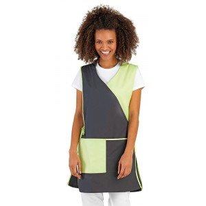 Chasuble tablier blouse professionnel femme auxiliaire vie menage restauration creche - ARDOISE/ANIS