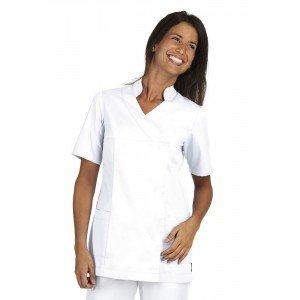Tunique professionnelle travail blanche manches courtes femme infirmier aide domicile boucher coiffeur - PAPAYE