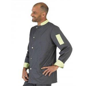 Veste cuisine manches longues professionnelle travail manches longues homme restauration traiteur ecole cuisine - ARDOISE/ANIS