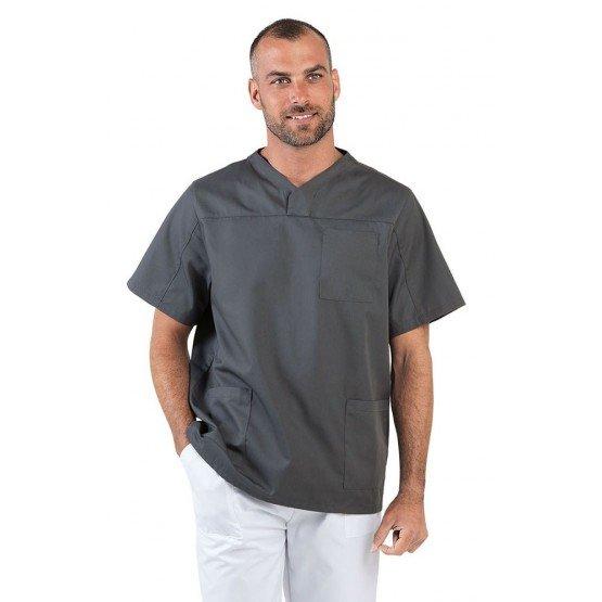 Tunique professionnelle travail blanche manches courtes mixte estheticienne medical coiffeur infirmier - ARDOISE