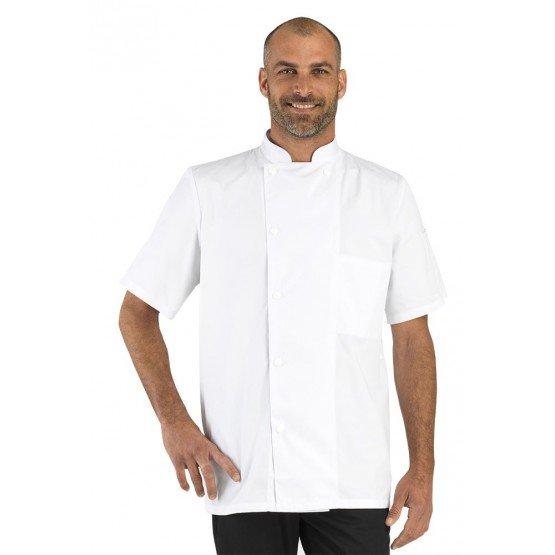 Veste cuisine professionnelle travail manches courtes BIO 100% coton mixte hotel restaurant cuisine restauration - BLANC