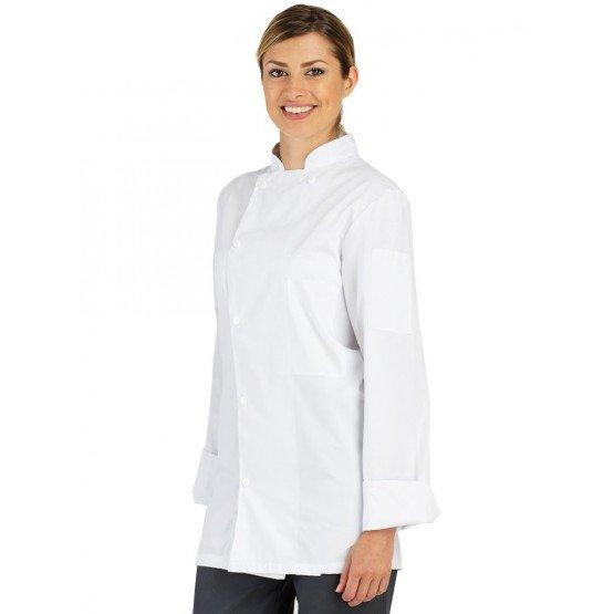 Veste cuisine professionnelle travail manches longues BIO 100% coton mixte serveur hotel restaurant cuisine - BLANC