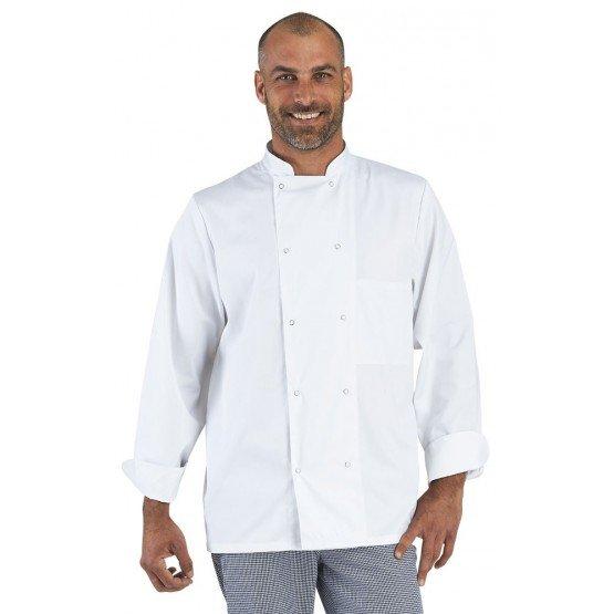 Veste cuisine professionnelle travail manches longues 100% coton mixte restaurant cuisine serveur hotel - BLANC