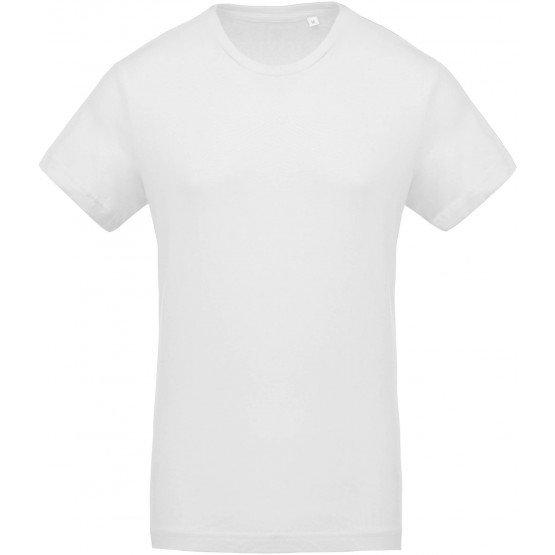 Tee-shirt bio professionnel travail manches courtes BIO 100% coton homme aide domicile medical auxiliaire vie infirmier - BLANC