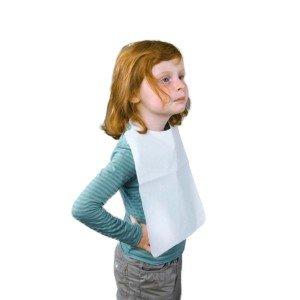 Bavoir enfant usage unique professionnel travail Polyethylene ouate foyer internat creche ecole - BLANC
