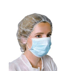 Masque 'hygiene 3 plis professionnel travail Polypropylene + filtre internat medical foyer infirmier - BLEU
