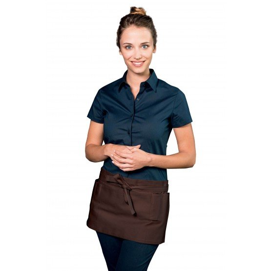 Tablier service cuisine professionnel noir 100% coton mixte hotel restaurant cuisine restauration - CHOCOLAT