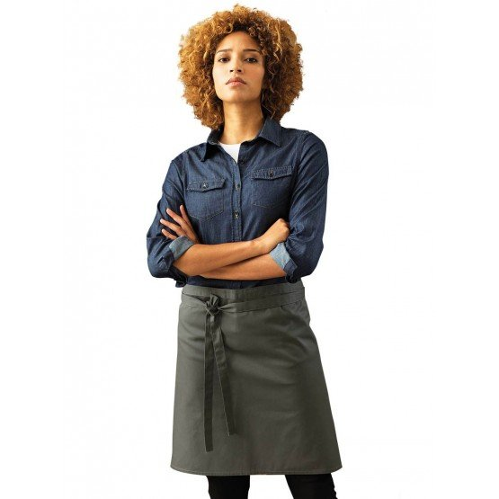 Tablier mi-long cuisine professionnel noir mixte restaurant cuisine restauration serveur - ARDOISE
