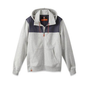 Sweat zippe capuche professionnel travail homme artisan manutention internat chantier - GRIS