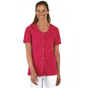 Blouse professionnelle travail manches courtes femme - PROMO medical coiffeur foyer eleve - FUCHSIA