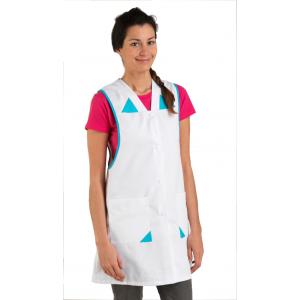 Blouse / Chasuble tablier professionnel blanche femme - PROMO aide domicile entretien restaurant bac pro - BLANC/ATOLL