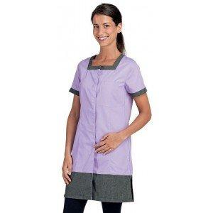 Blouse professionnelle travail manches courtes femme - PROMO menage estheticienne foyer entretien - LILAS/CHAMBRAY