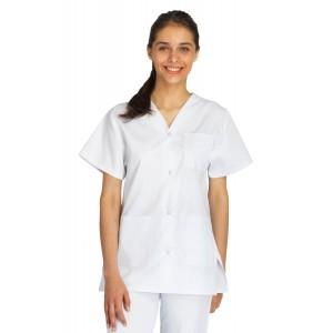 Tunique professionnelle travail blanche manches courtes mixte aide domicile medical auxiliaire vie infirmier - BLANC