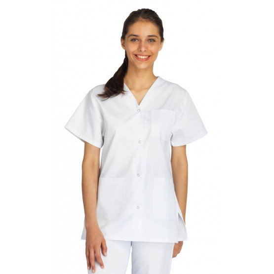 Tunique professionnelle travail blanche manches courtes mixte auxiliaire vie medical aide domicile infirmier - BLANC