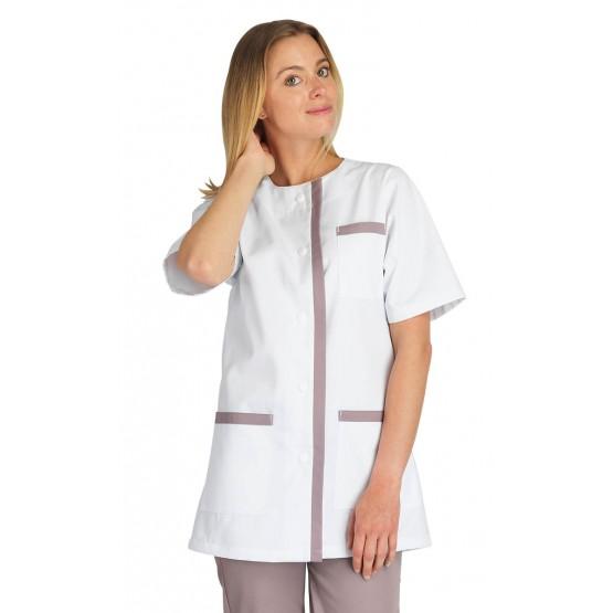 BLANC/ZINC - Tunique professionnelle de travail blanche à manches courtes femme auxiliaire de vie médical aide a domicile infirm