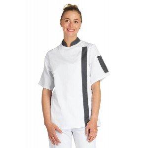Veste cuisine manches courtes professionnelle travail femme serveur hotel restaurant cuisine - BLANC/ARDOISE