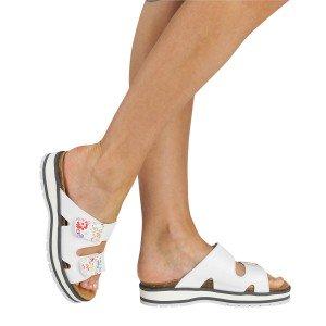 Sandale professionnel travail blanc cuir ISO EN 20347 femme entretien creche menage ecole - BLANC/GRIS