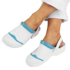Sabot professionnel travail blanc cuir ISO EN 20347 femme infirmier menage creche eleve - BLANC/FUCHSIA