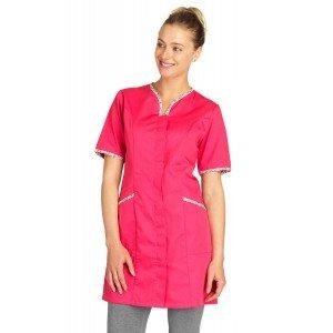 FUCHSIA/PAPILLONS - Blouse professionnelle de travail à manches courtes femme aide a domicile infirmier auxiliaire de vie médica