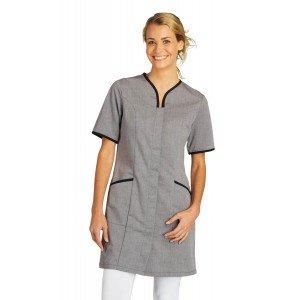 Blouse professionnelle travail manches courtes femme auxiliaire vie infirmier aide domicile medical - CHAMBRAY/NOIR