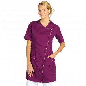 Blouse professionnelle travail blanche manches courtes femme auxiliaire vie infirmier aide domicile medical - PRUNILLE/FLEURS