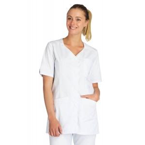 Tunique professionnelle travail blanche manches courtes femme auxiliaire vie infirmier aide domicile medical - BLANC/FUCHSIA