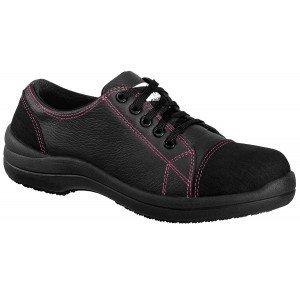 NOIR - Chaussure de sécurité S3 professionnelle de travail noire en cuir ISO EN 20345 S3 femme artisan entretien chantier menage